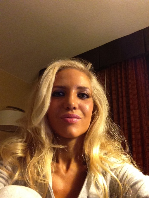 Relaxing at the hotel in my sweats